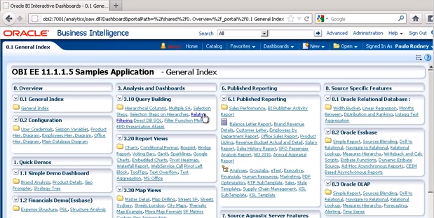 The OBIEE default dashboard