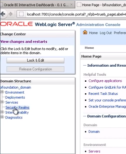 Picture of the WebLogic Administration console shown the location of the Security Realm option