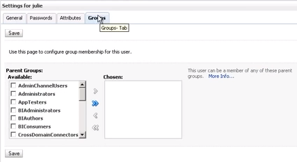 The Groups tab on the user settings screen