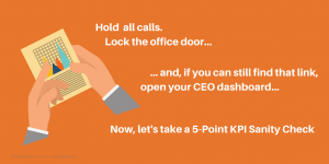 Hold all calls! Lock the office door! And if you can still find that link, open your CEO dashboard. Now let's take a 5-Point KPI Sanity Check